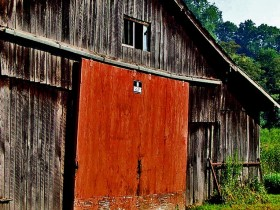 Red barn door