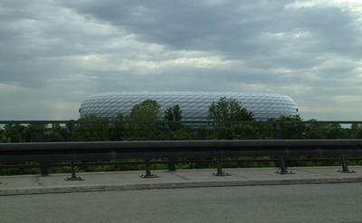 Allianz Arena, Munich, from cab
